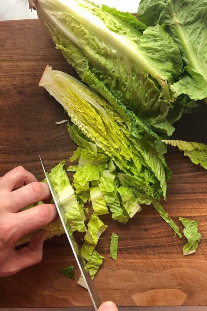 chopping romaine