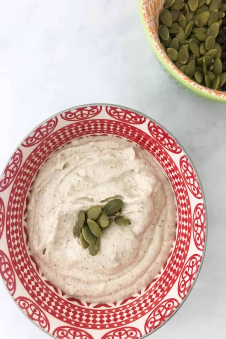 pumpkin seed crema in a bowl