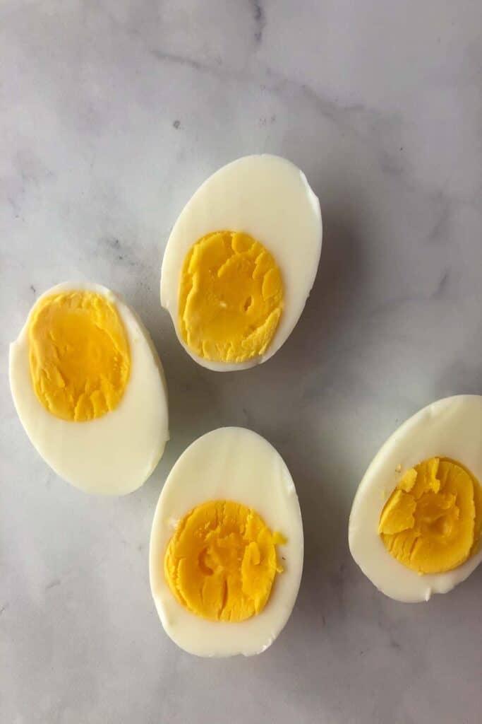hard boiled eggs cut in half