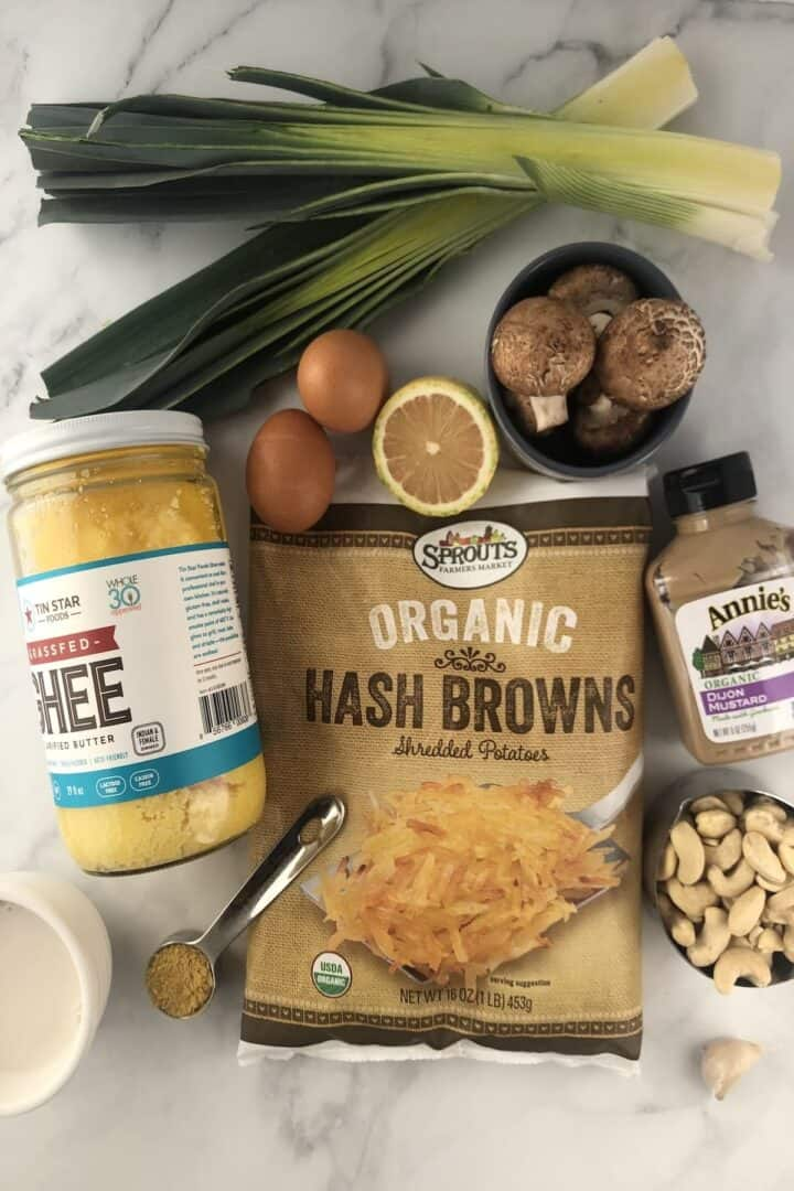 ingredients for mushroom and leek quiche