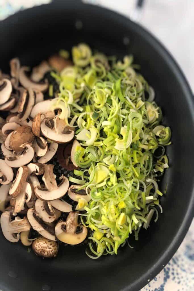 cooking leeks and mushrooms