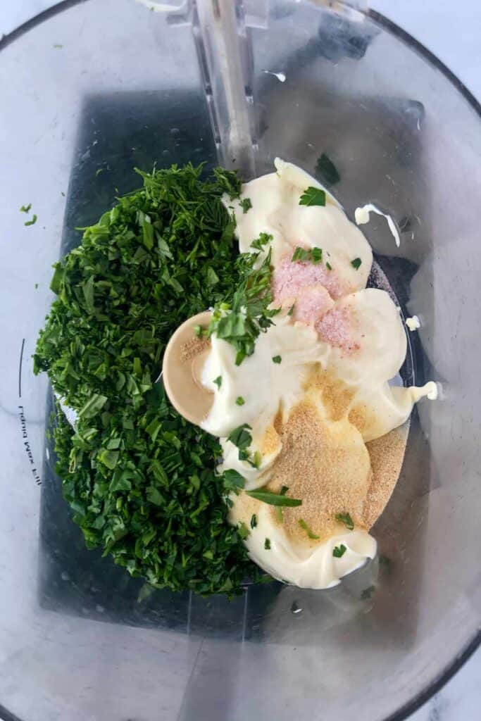 ranch ingredients in a food processor