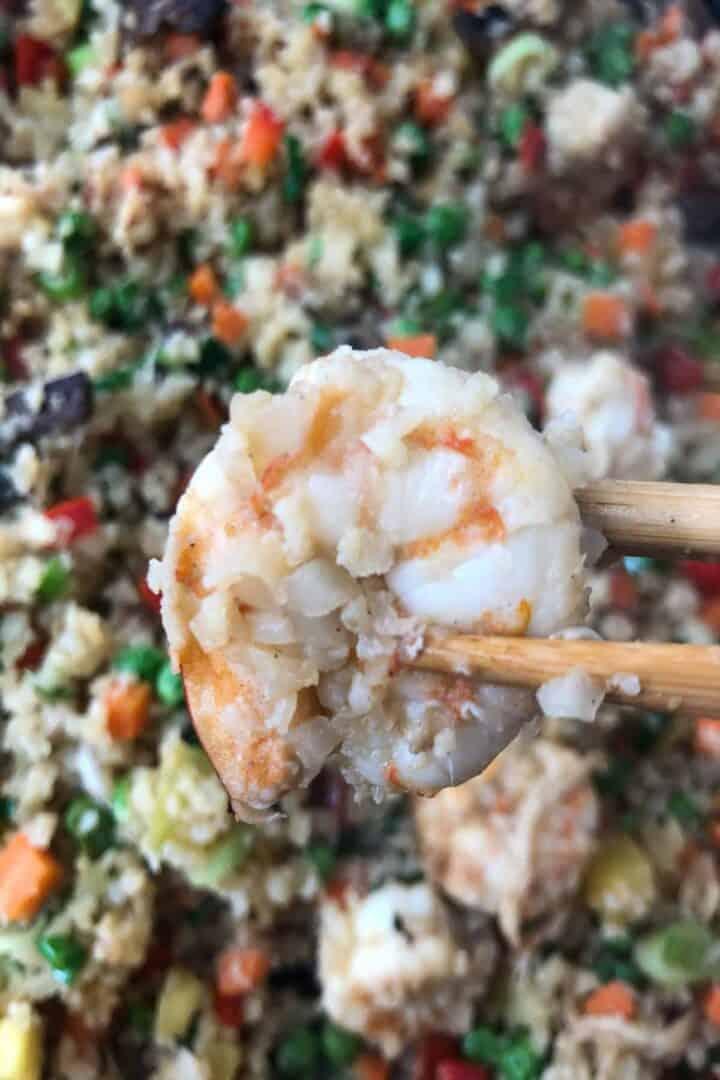 shrimp with chopsticks