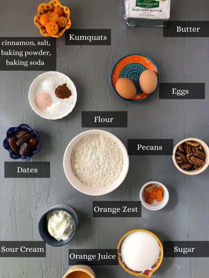 Ingredients in Kumquat Date Bread