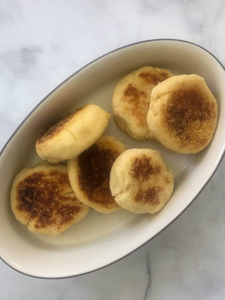 English muffins in oval platter