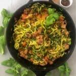 zucchini pasta in cast-iron skillet
