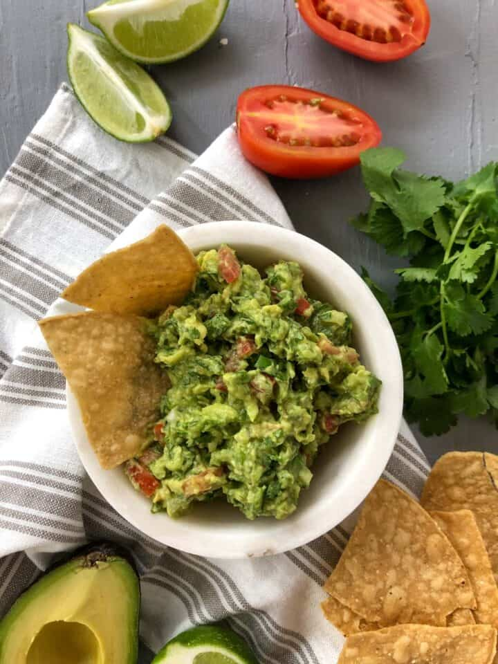 Guacamole in small bowl