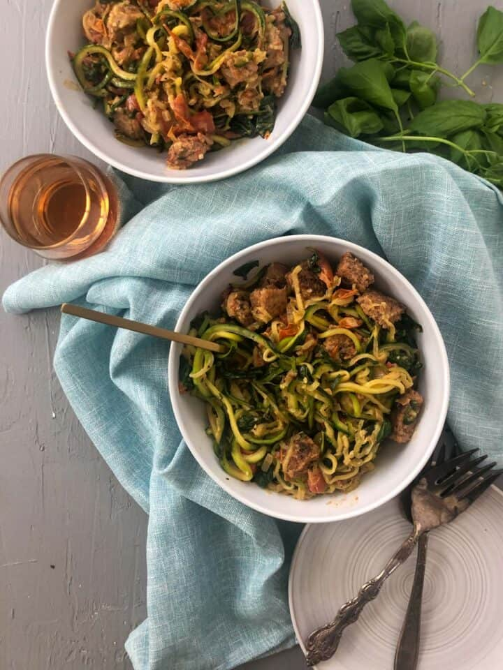 zucchini pasta bowls and forks