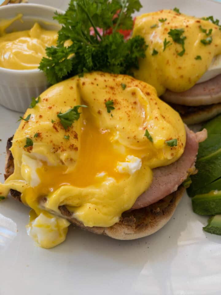 soft poached egg on English muffin
