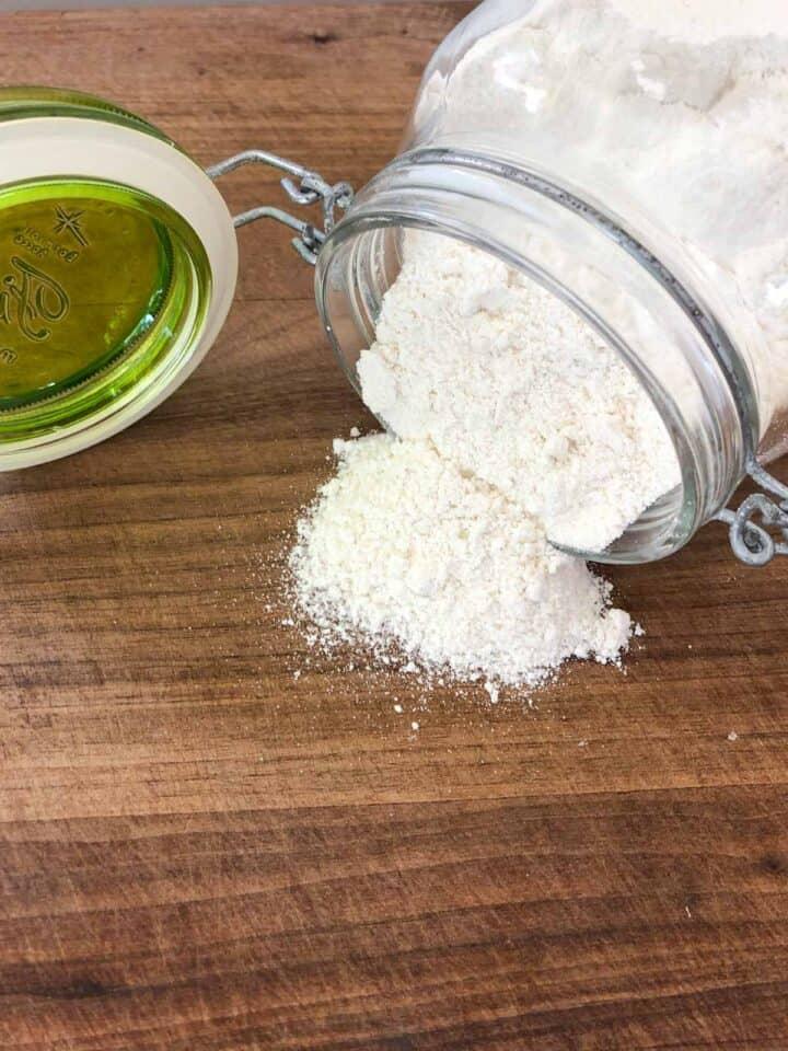 flour spilling out of a jar