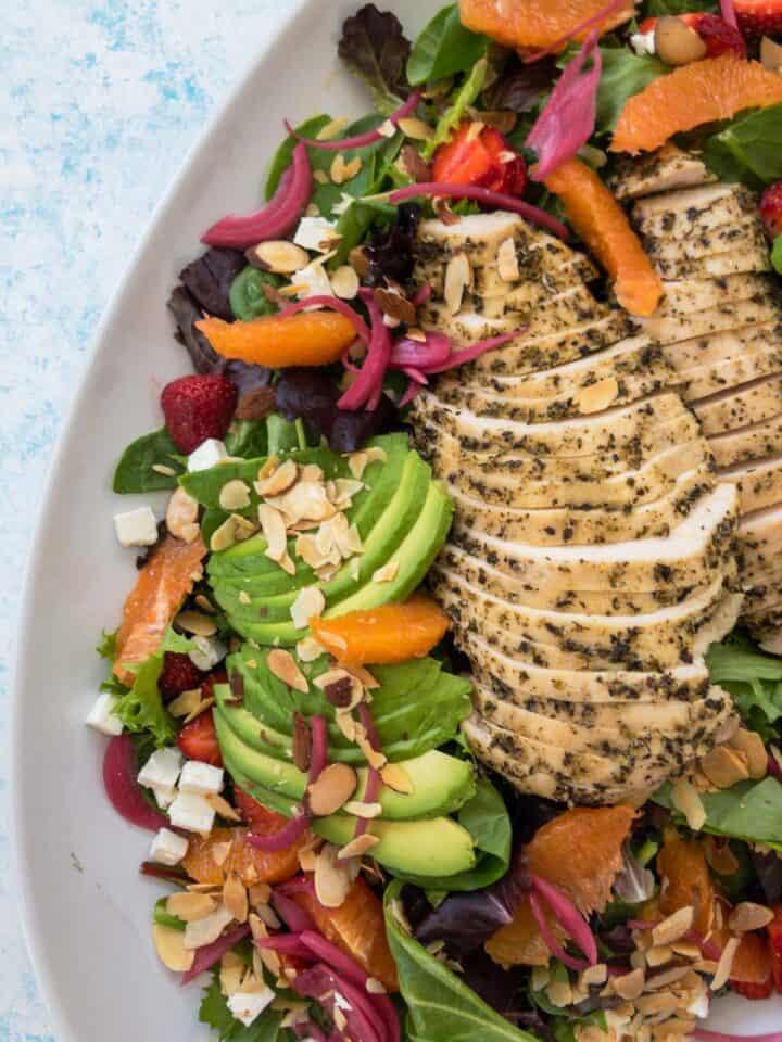 citrus harvest chicken salad on a platter