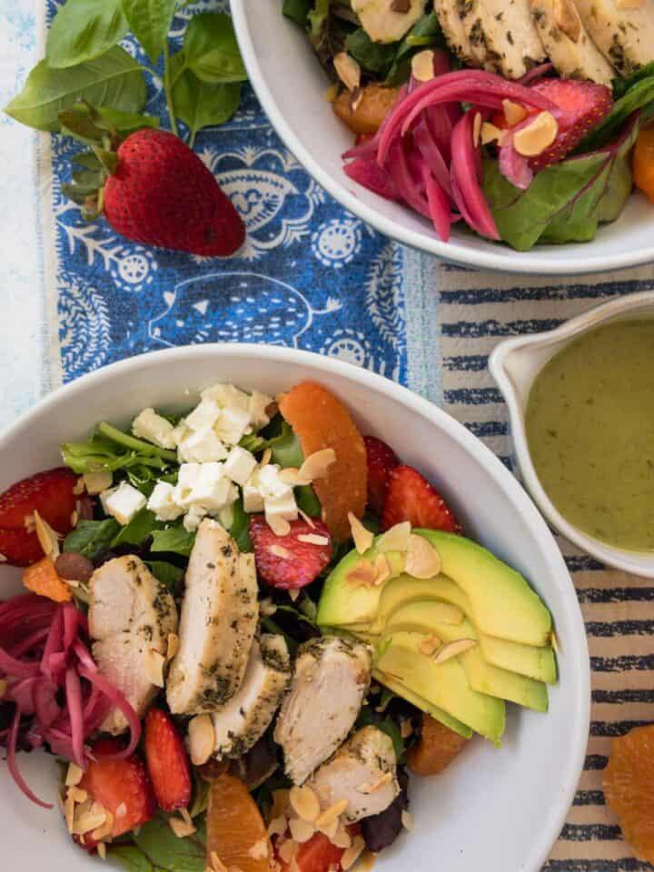 citrus harvest chicken salad in small bowls