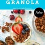 granola and berries on top of yogurt in a mason jar