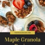 granola with berries and two spoons