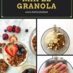 chopping nuts in a food processor to make granola