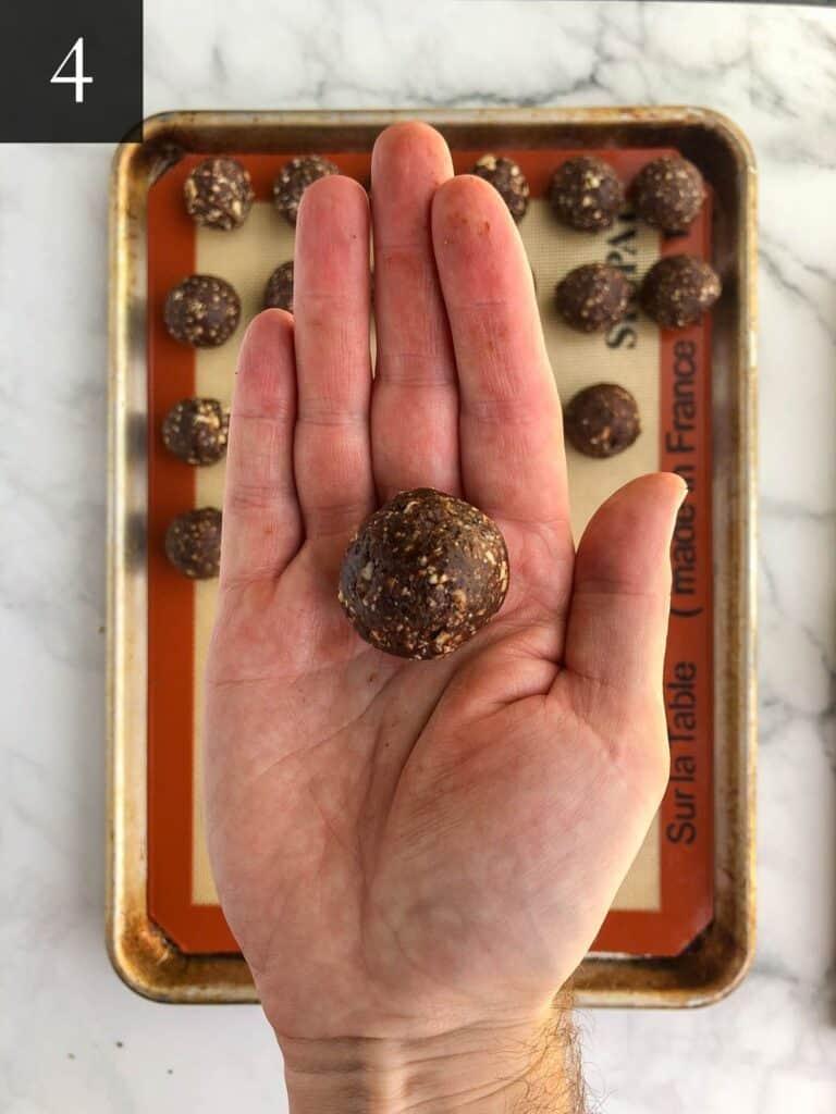 chocolate espresso energy bites rolling into balls