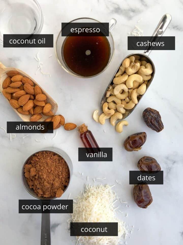 chocolate espresso energy bites ingredients