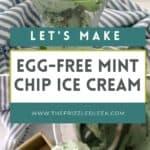 mint chocolate chip ice cream in a sundae glass
