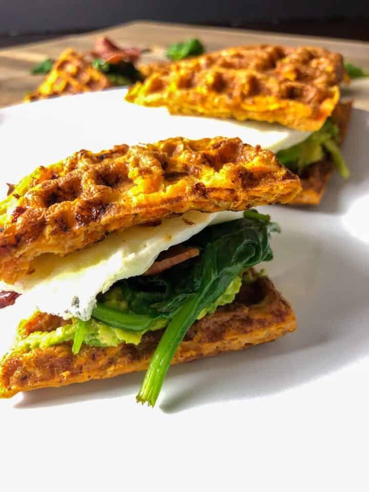 whole30 sweet potato waffle sandwich on a plate