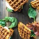 sweet potato waffles on wooden board