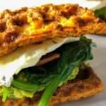 close up of waffle breakfast sandwich
