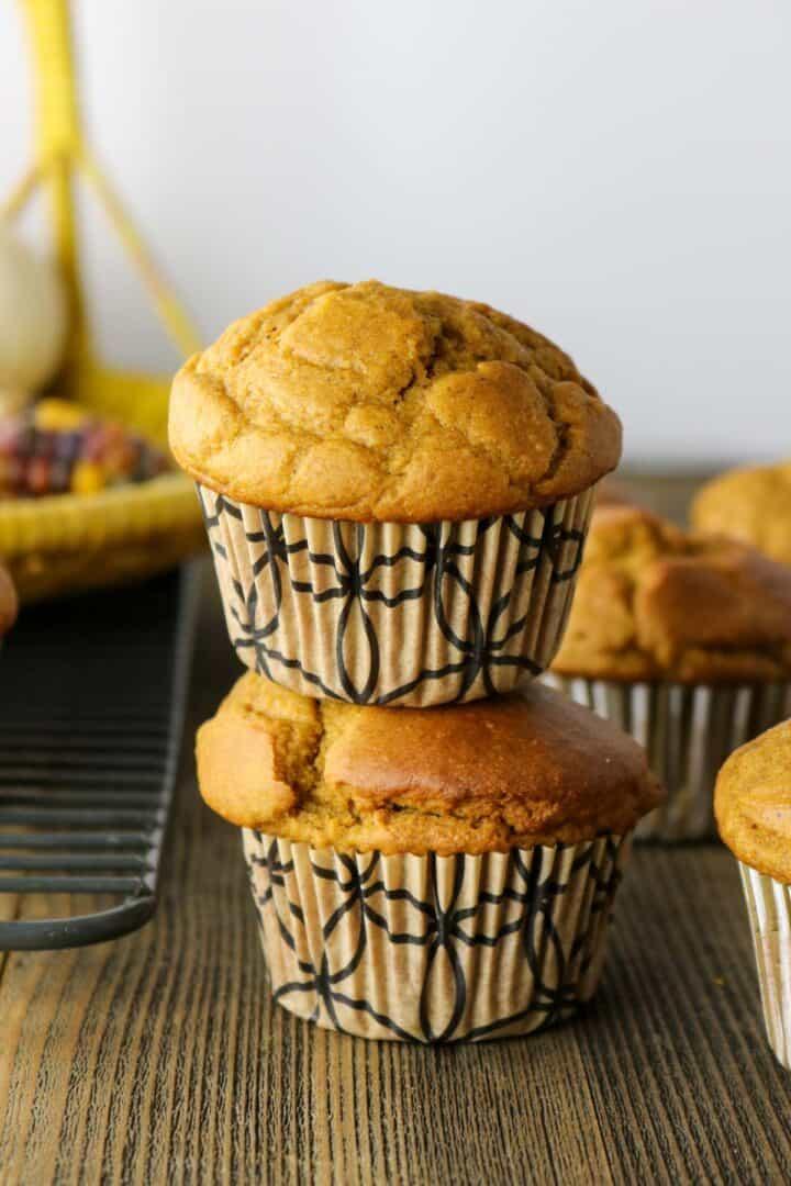 Healthy Pumpkin Muffins stacked high