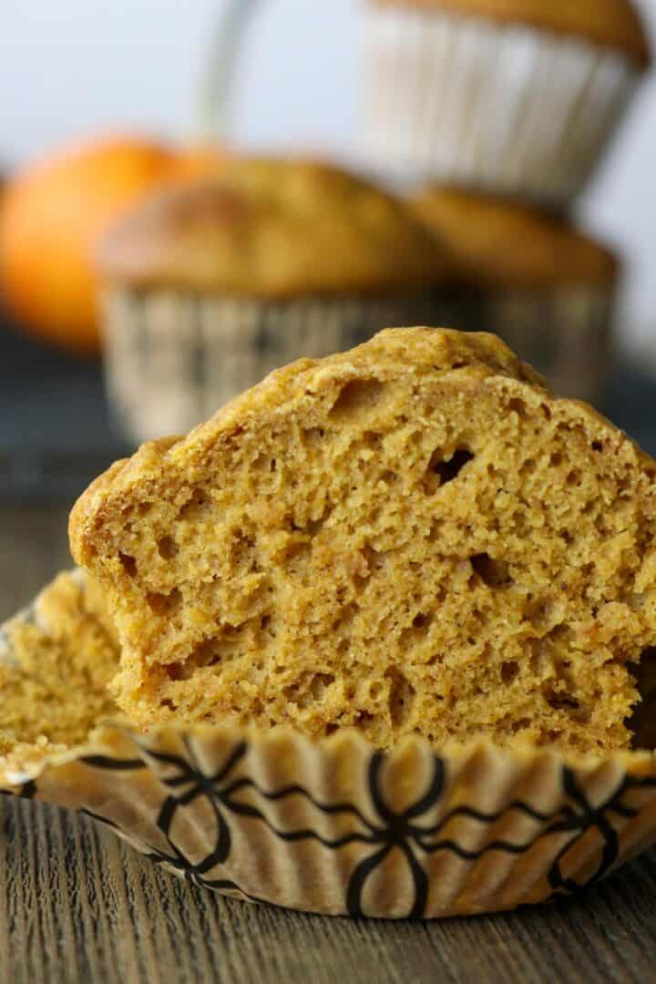 healthy pumpkin muffins cut in half
