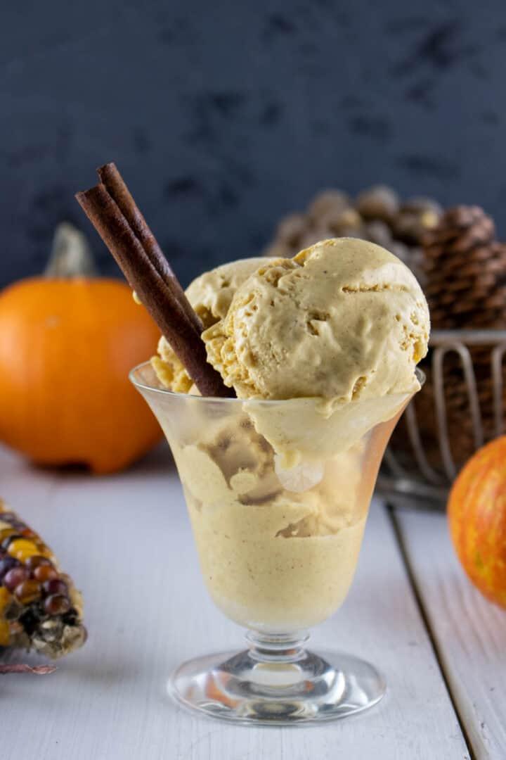 homemade creamy pumpkin ice cream with a stick of cinnamon